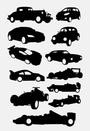 Race and vintage car transportation silhouette