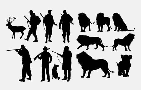 Hunter and lion, deer, dog, wolf animal silhouette