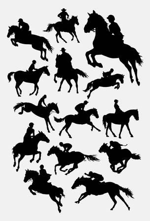 Silueta de deporte a caballo Ilustración de vector