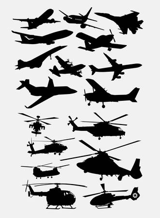 Airplane and helicopter transportation silhouettes. Good use for symbol, logo, web icon, mascot, or any design you want. Easy to use Ilustração