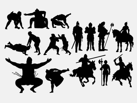 Knight male warrior and sumo sport silhouette. Good use for symbol, logo, web icon, mascot, game elements, or any design you want. Easy to use, edit, or change color.