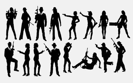 Gángster con pistola, siluetas masculinas y femeninas. Buen uso de símbolo, elementos de juego, logotipo, icono web, mascota, pegatina, letrero o cualquier diseño que desee. Fácil de usar, editar o cambiar de color.