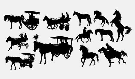Wagen mit Pferdesilhouette. Gute Verwendung für Symbole, Logos, Websymbole, Maskottchen, Spielelemente oder jedes gewünschte Design. Einfach zu bedienen, zu bearbeiten oder die Farbe zu ändern. Logo
