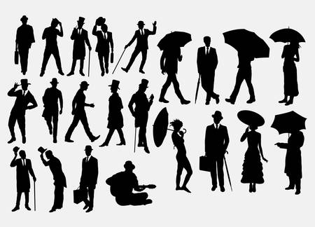 Man and woman with hat and umbrella pose silhouettes. Good use for symbol, logo, web icon, mascot, sticker, or any design you want. Easy to use.