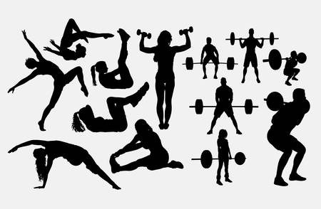 Fitness male and female sport silhouette