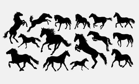 Horse, jumping, running, walking, standing, silhouette. Good use for symbol, logo, web icon, mascot, game elements, or any design you want. Easy to use, edit, or change color. Ilustrace