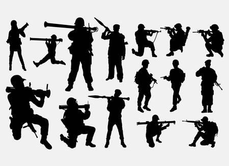 Armée de soldat avec la silhouette d'arme Vecteurs