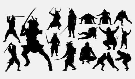 Sumo- und Samurai-Sportsilhouette