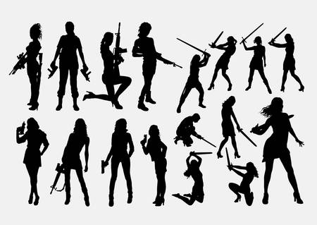 People with gun silhouette Ilustrace