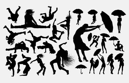 Dancer and performance silhouette Ilustrace