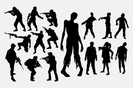 Cazador de zombies y silueta de soldado Ilustración de vector
