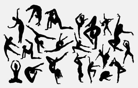 Dancer male and female silhouette Vektorové ilustrace