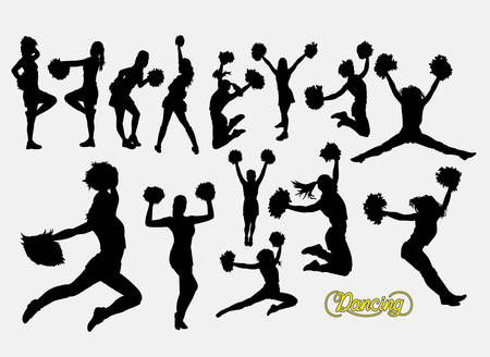 Cheerleader dancer male and female silhouette Ilustrace