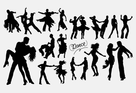 Dancer male and female silhouette