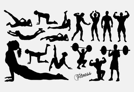 Male and female health and sport action silhouette.