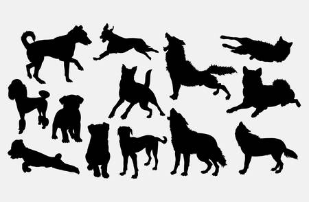 Dog and wolf silhouette