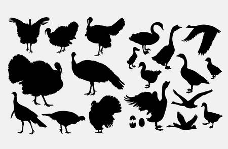 Turkey and goose poultry animal silhouette Ilustrace