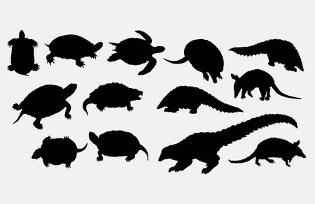 Turtle and anteater animal silhouette vector