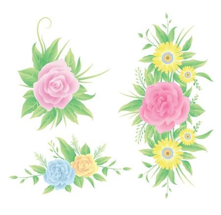 Floral colorful and beautiful rose flowers and leaves template decoration.