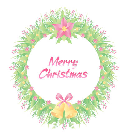 Floral frame colorful and beautiful rose flowers and leaves template decoration. Good use for Christmas event.