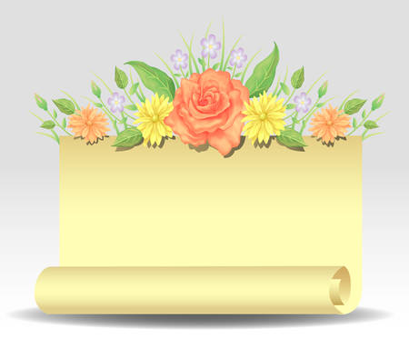 Floral frame colorful and beautiful rose flowers and leaves with paper template decoration.