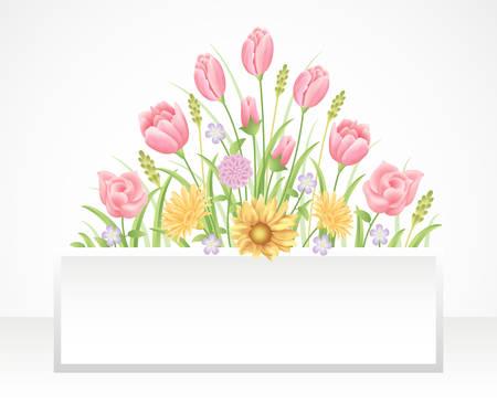 Cadre floral coloré et belles fleurs roses et décoration de modèle de feuilles.