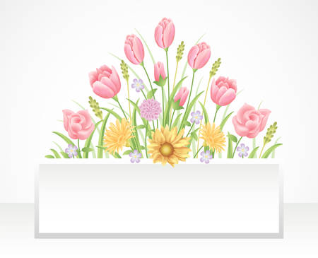 Floral frame colorful and beautiful rose flowers and leaves template decoration.