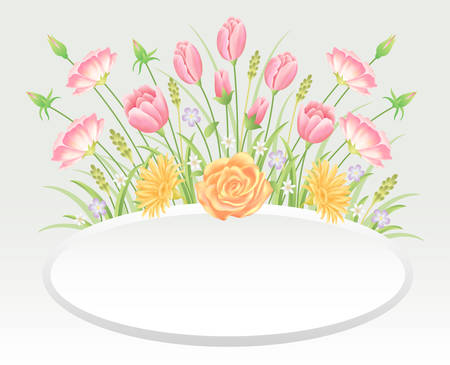 Floral frame colorful and beautiful rose and tulip flowers and leaves template decoration.