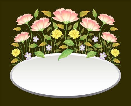 Floral frame colorful and beautiful rose flowers and leaves template decoration. Ilustracja