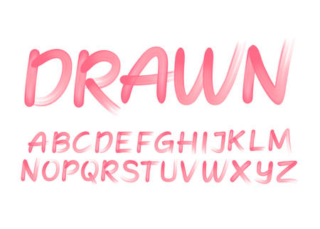 Drawn spontaneous brush stroke vector alphabet