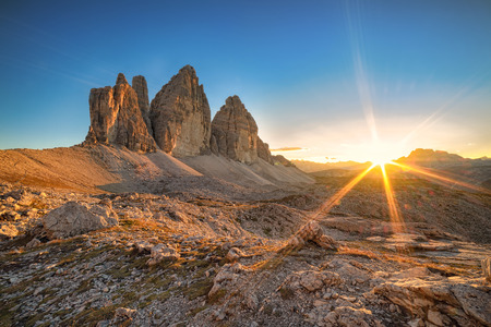 sunset at three Peaks Lavaredo Italy