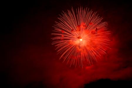 backgroud: Red firework on black backgroud