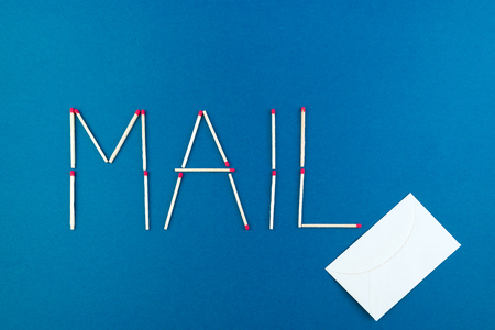 written: Written mail made with matchstick