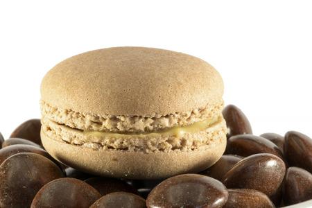 macaron coffee on white background photo