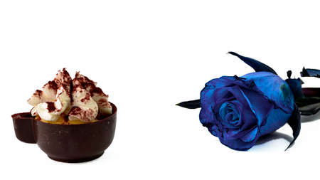 blue rose: Eggflip and blue rose on white