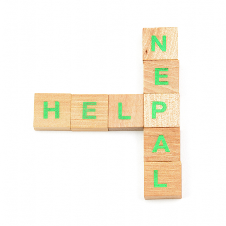 Help nepal written with  letters photo