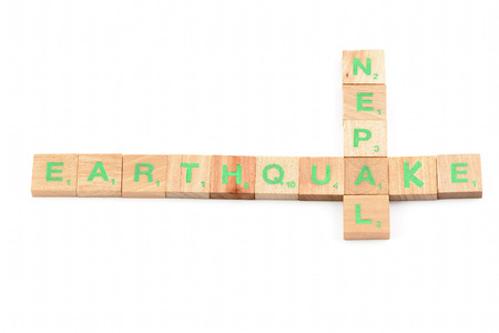 Earthquake nepal written with letters photo