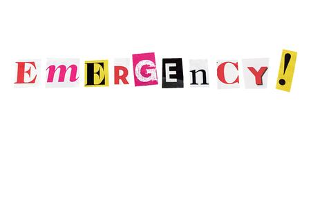 seismograph: emergencia escrito con letras cotidianas Foto de archivo
