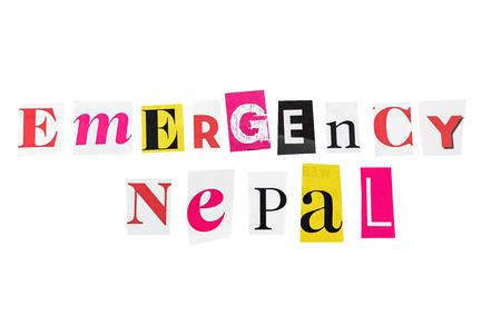 sismográfo: nepal emergencia escrito con letras cotidianas