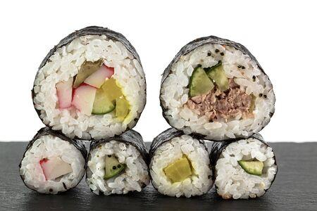 raw fish: sushi rice and raw fish black & white