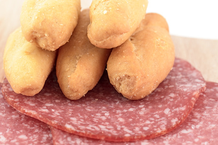 breadstick: breadstick and salami appetizer food Stock Photo