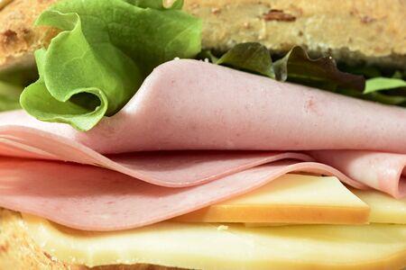 macro mortadella cheese sandwich and salad