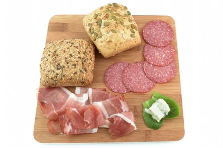 gorgonzola: cereal bread speck salami and gorgonzola