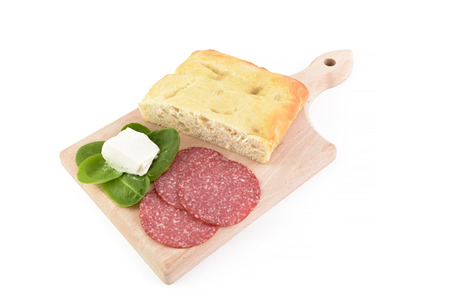 gorgonzola: focaccia salami and gorgonzola on chopping board