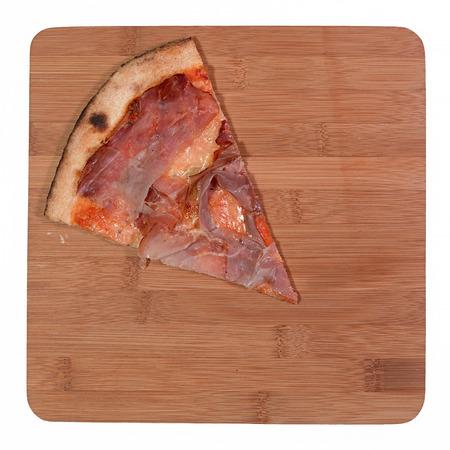 pizza background: slice of bacon and gorgonzola pizza on bamboo Stock Photo