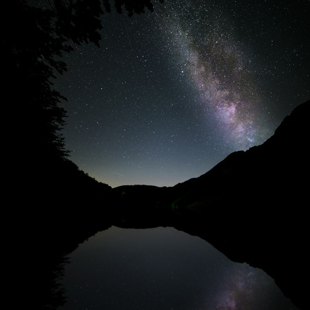 reflected: milkyway reflected in the lake in the mountains