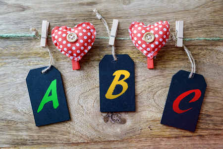 clothespins: abc on blackboard with clothespins heart