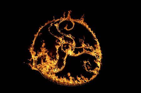 simbol: Tri-Skell fiery Celtic simbol Stock Photo