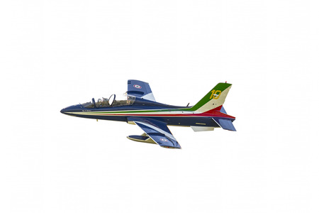 air demonstration: Italian Tricolor Arrows at airshow on white background