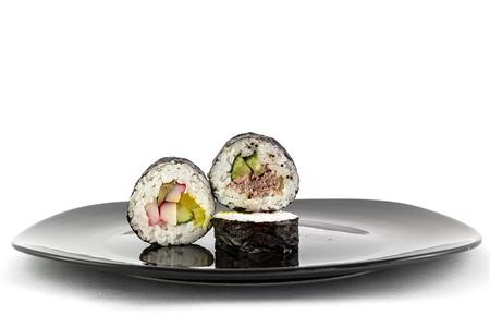raw fish: sushi rice and raw fish Stock Photo